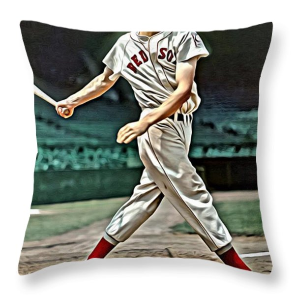 Ted Williams Painting Throw Pillow by Florian Rodarte