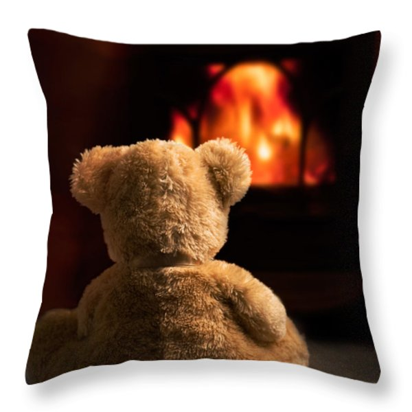 Teddy By The Fire Throw Pillow by Amanda And Christopher Elwell