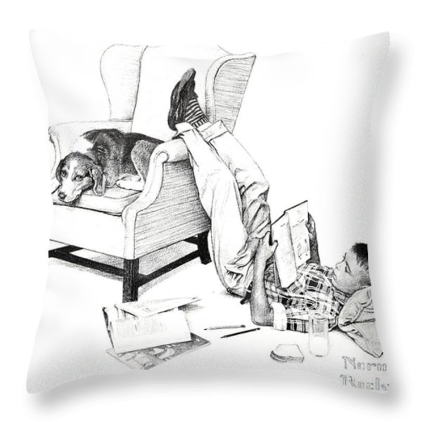Teenager Studying Throw Pillow by Susan Leggett