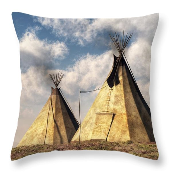 Teepees Throw Pillow by Daniel Eskridge