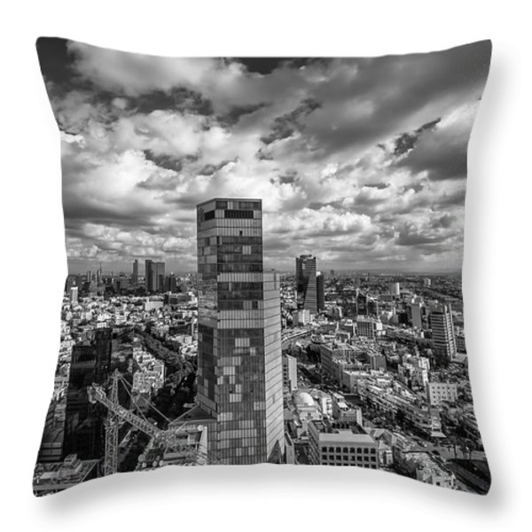 Tel Aviv high and above Throw Pillow by Ron Shoshani