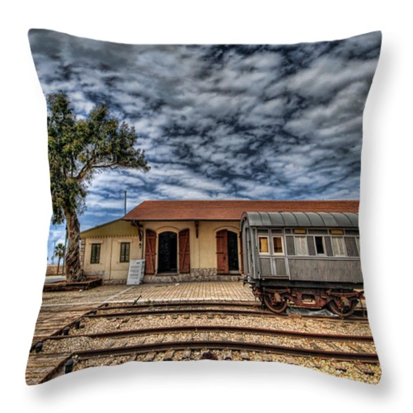 Tel Aviv Old Railway Station Throw Pillow by Ron Shoshani
