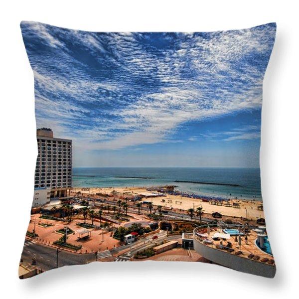 Tel Aviv summer time Throw Pillow by Ron Shoshani
