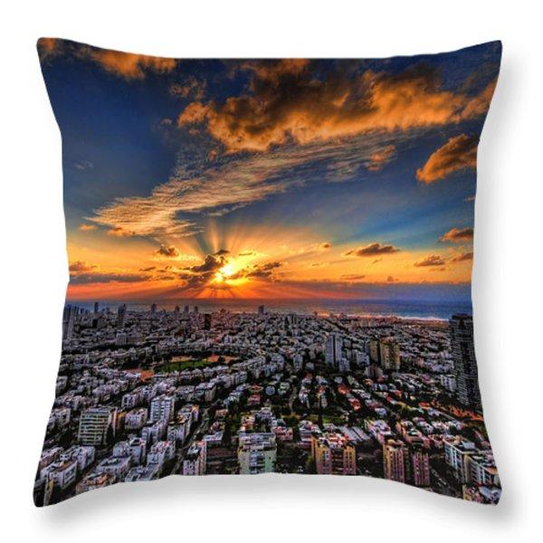 Tel Aviv sunset time Throw Pillow by Ron Shoshani