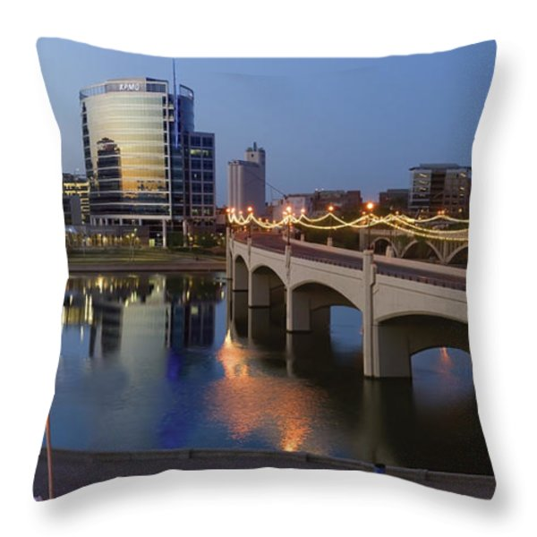 Tempe Town Lake Pano Throw Pillow by Dave Dilli