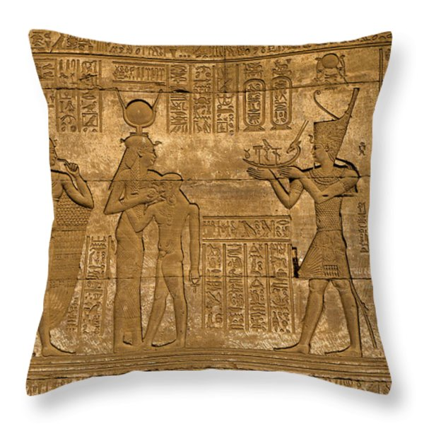 Temple at Denderah Egypt Throw Pillow by Brenda Kean