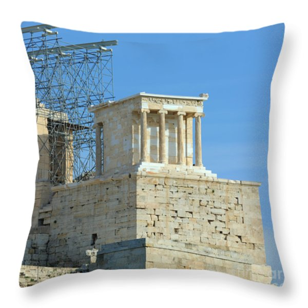 Temple of Athena Nike Throw Pillow by Grigorios Moraitis
