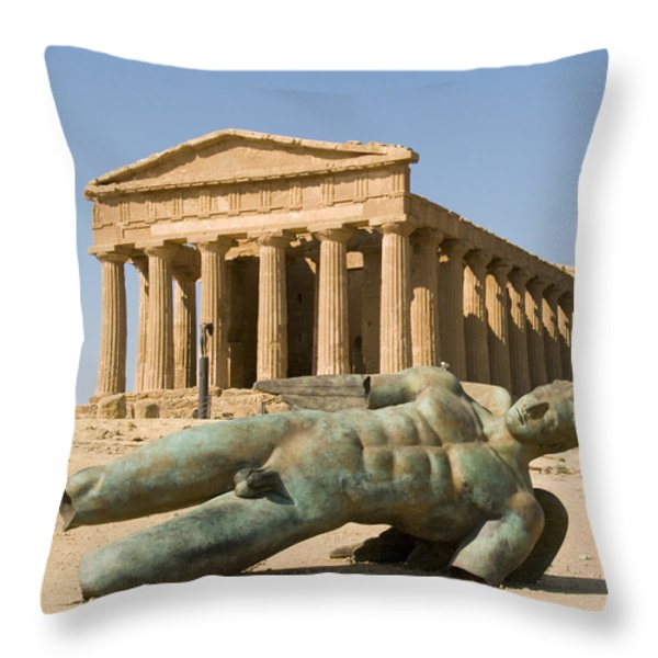Temple of Concord and Icarus fallen Throw Pillow by Robert Down