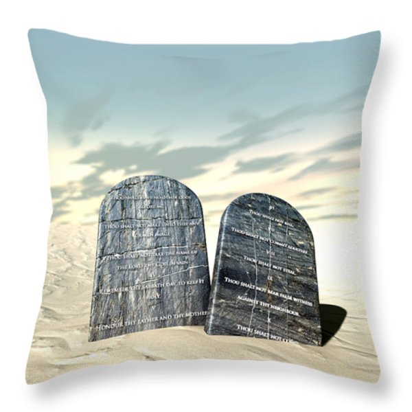 Ten Commandments Standing In The Desert Throw Pillow by Allan Swart