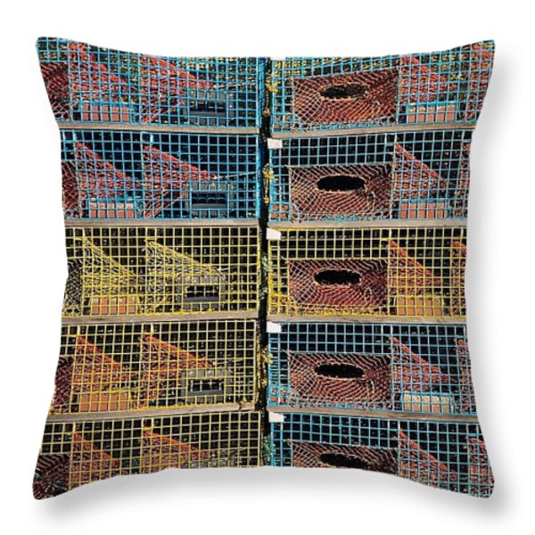 Ten Lobster Traps Throw Pillow by Stuart Litoff