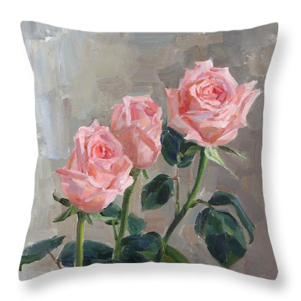 Tender Roses Throw Pillow by Victoria Kharchenko