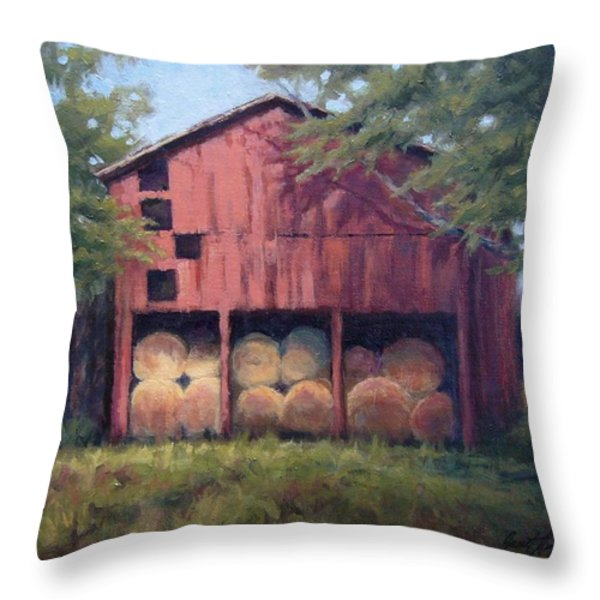 Tennessee Barn With Hay Bales Throw Pillow by Janet King