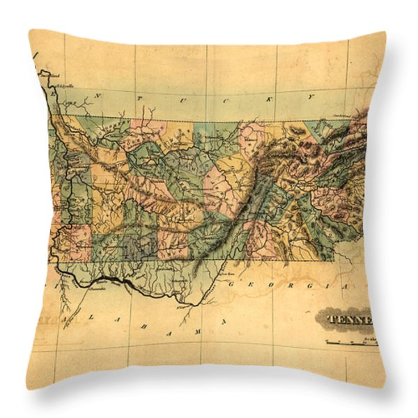 Tennessee Vintage Antique Map Throw Pillow by World Art Prints And Designs