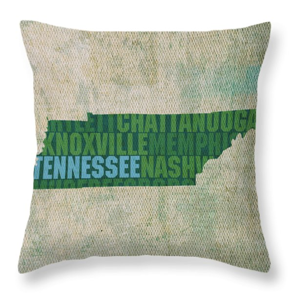 Tennessee Word Art State Map on Canvas Throw Pillow by Design Turnpike
