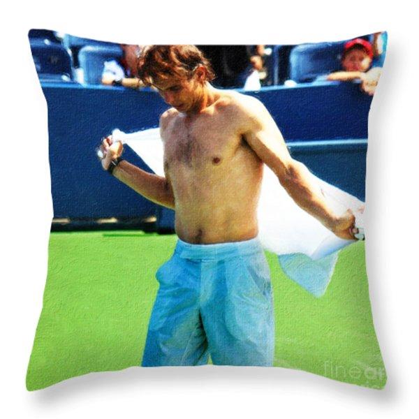 Tennis Champion Rafa Nadal  Throw Pillow by Nishanth Gopinathan