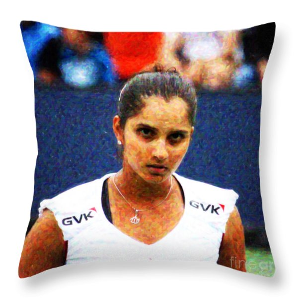 Tennis Player Sania Mirza Throw Pillow by Nishanth Gopinathan