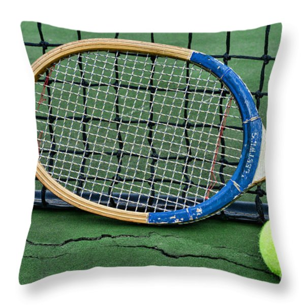 Tennis - Vintage Tennis Racquet Throw Pillow by Paul Ward