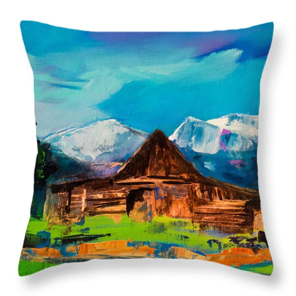 Teton Barn  Throw Pillow by Elise Palmigiani