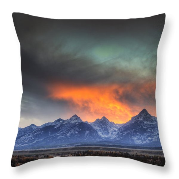 Teton Explosion Throw Pillow by Mark Kiver