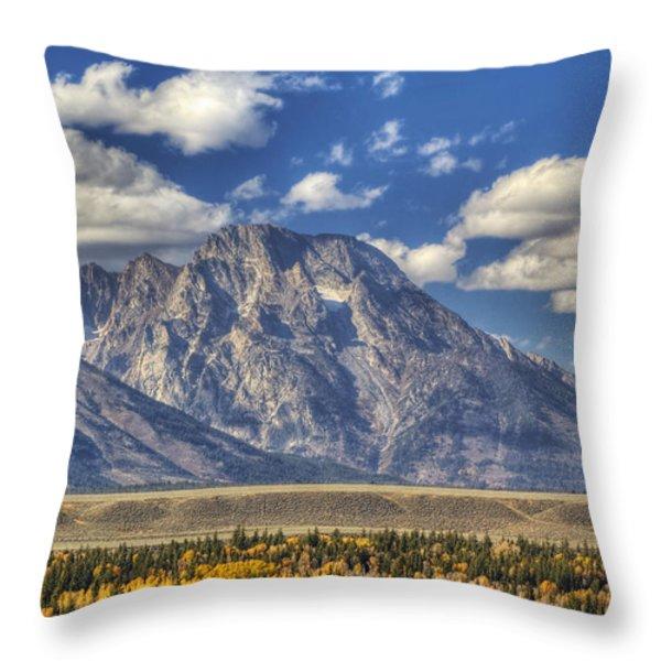 Teton Glory Throw Pillow by Mark Kiver