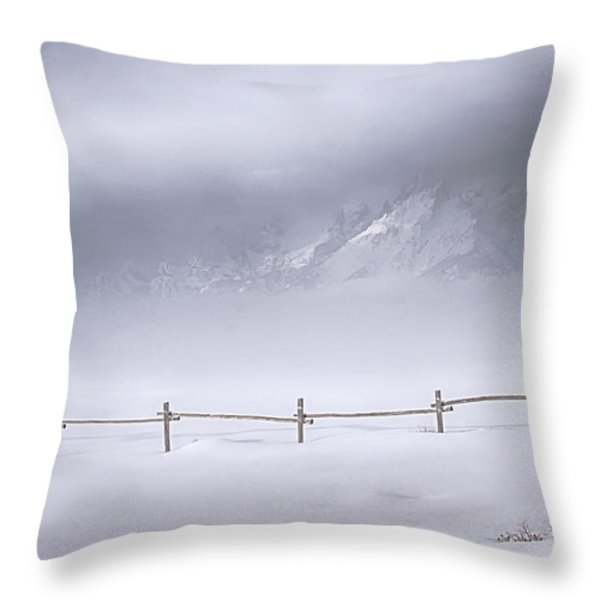 Teton Morning Throw Pillow by Priscilla Burgers