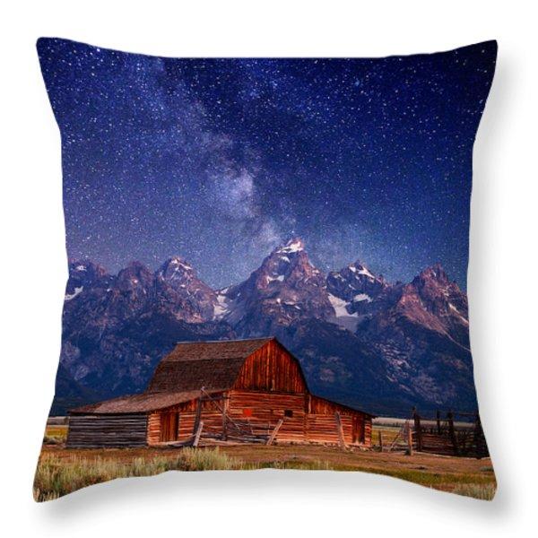 Teton Nights Throw Pillow by Darren  White