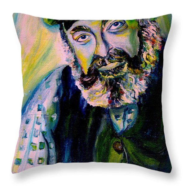 Tevye Fiddler On The Roof Throw Pillow by Carole Spandau