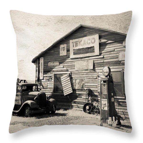 Texaco Gas Station Throw Pillow by Athena Mckinzie