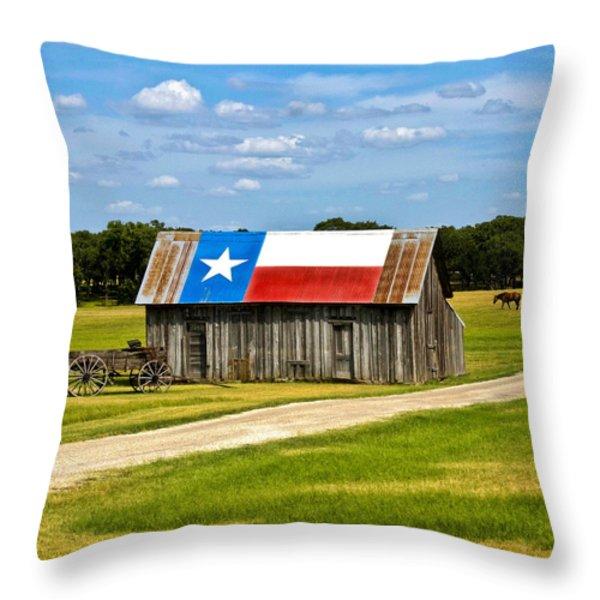 Texas Barn Flag Throw Pillow by Gary Grayson