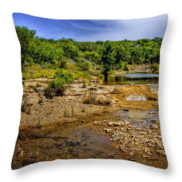 Texas Hill Country Stream Throw Pillow by David and Carol Kelly
