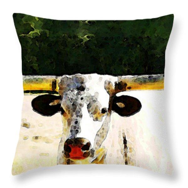 Texas Longhorn - Bull Cow Throw Pillow by Sharon Cummings