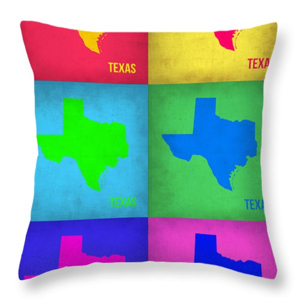 Texas Pop Art Map 1 Throw Pillow by Naxart Studio