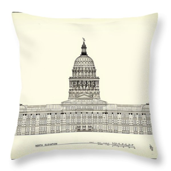 Texas State Capitol Architectural Design Throw Pillow by Mountain Dreams