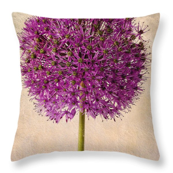 Textured Allium Throw Pillow by John Edwards