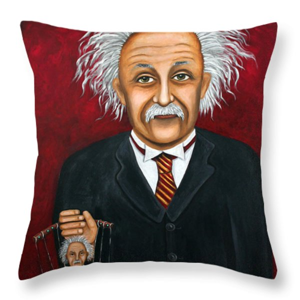 The 2 Einstein's Throw Pillow by Leah Saulnier The Painting Maniac
