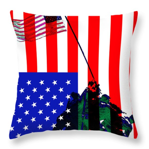 The American Flag Over Iwo Jima 20130210 Throw Pillow by Wingsdomain Art and Photography