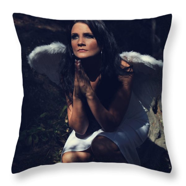 The Angel Prayed Throw Pillow by Laurie Search