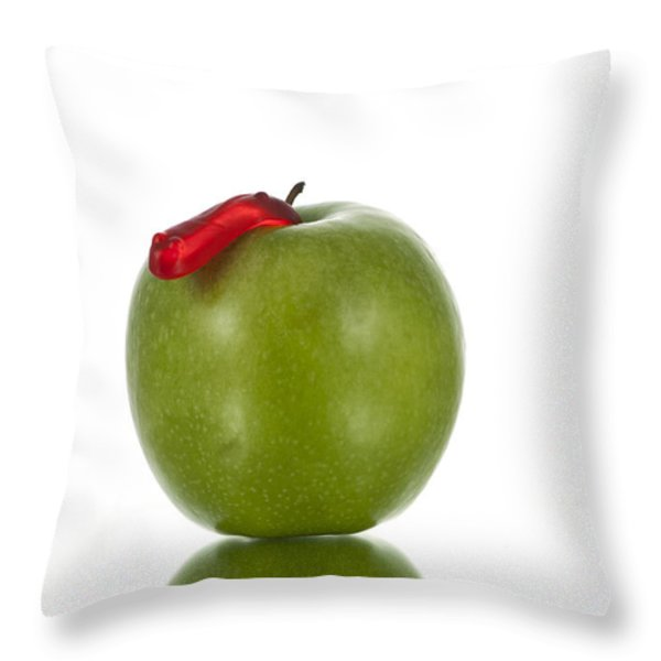 The Apple and the Worm Throw Pillow by Juli Scalzi