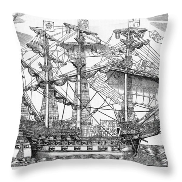 The Ark Raleigh The Flagship Of The English Fleet From Leisure Hour Throw Pillow by English School
