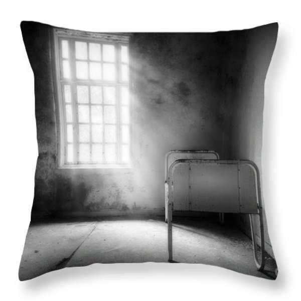 The Asylum Project - Empty Bed Throw Pillow by Erik Brede