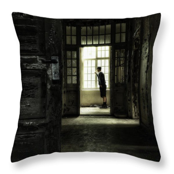 The Asylum Project - Looking out at the world Throw Pillow by Erik Brede