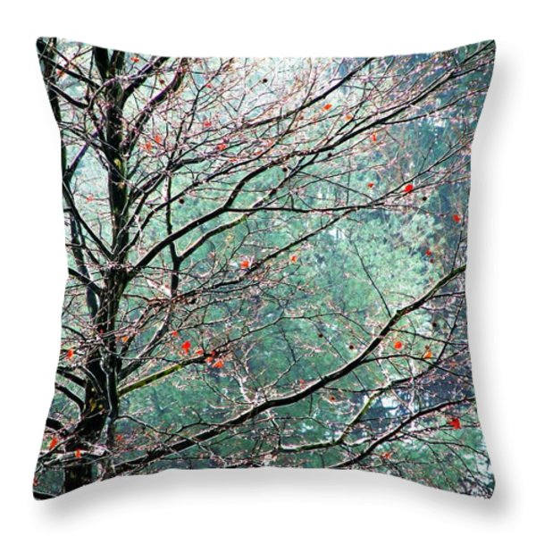 The Aura Of Trees Throw Pillow by Angela Davies