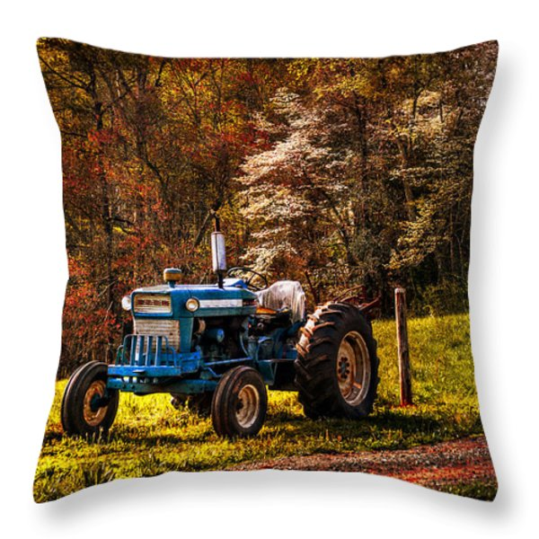 The Autumn Blues Throw Pillow by Debra and Dave Vanderlaan