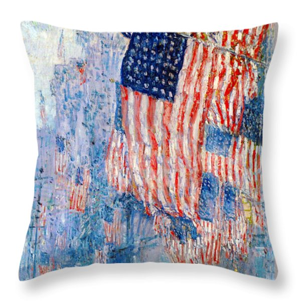 The Avenue In The Rain Throw Pillow by Frederick Childe Hassam