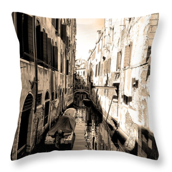 The Back Canals Of Venice Throw Pillow by Pat Cannon
