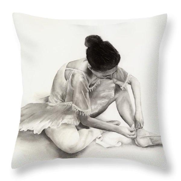 The Ballet Dancer Throw Pillow by Hailey E Herrera