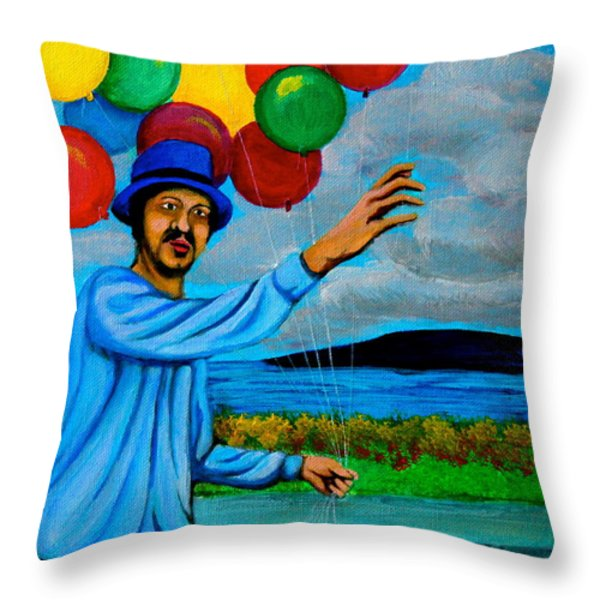 The Balloon Vendor Throw Pillow by Cyril Maza