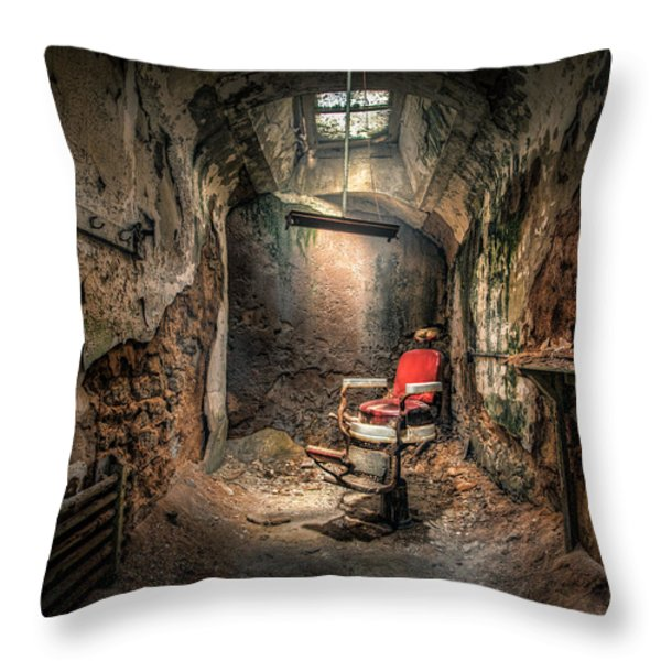 The Barber's Chair -the Demon Barber Throw Pillow by Gary Heller