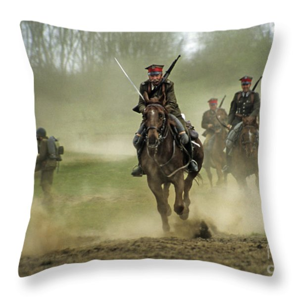 The Battle Throw Pillow by Angel  Tarantella