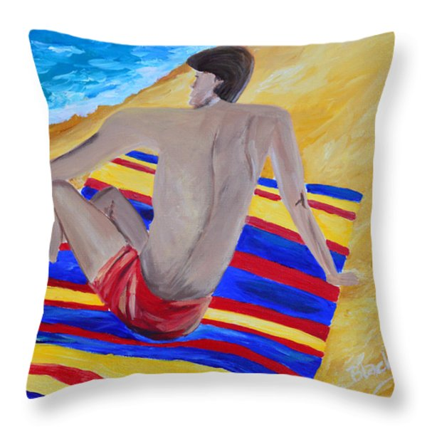 The Beach Towel Throw Pillow by Donna Blackhall